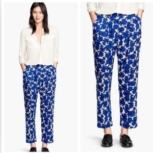H&M Blue Floral Print High Waisted Pleat Trousers